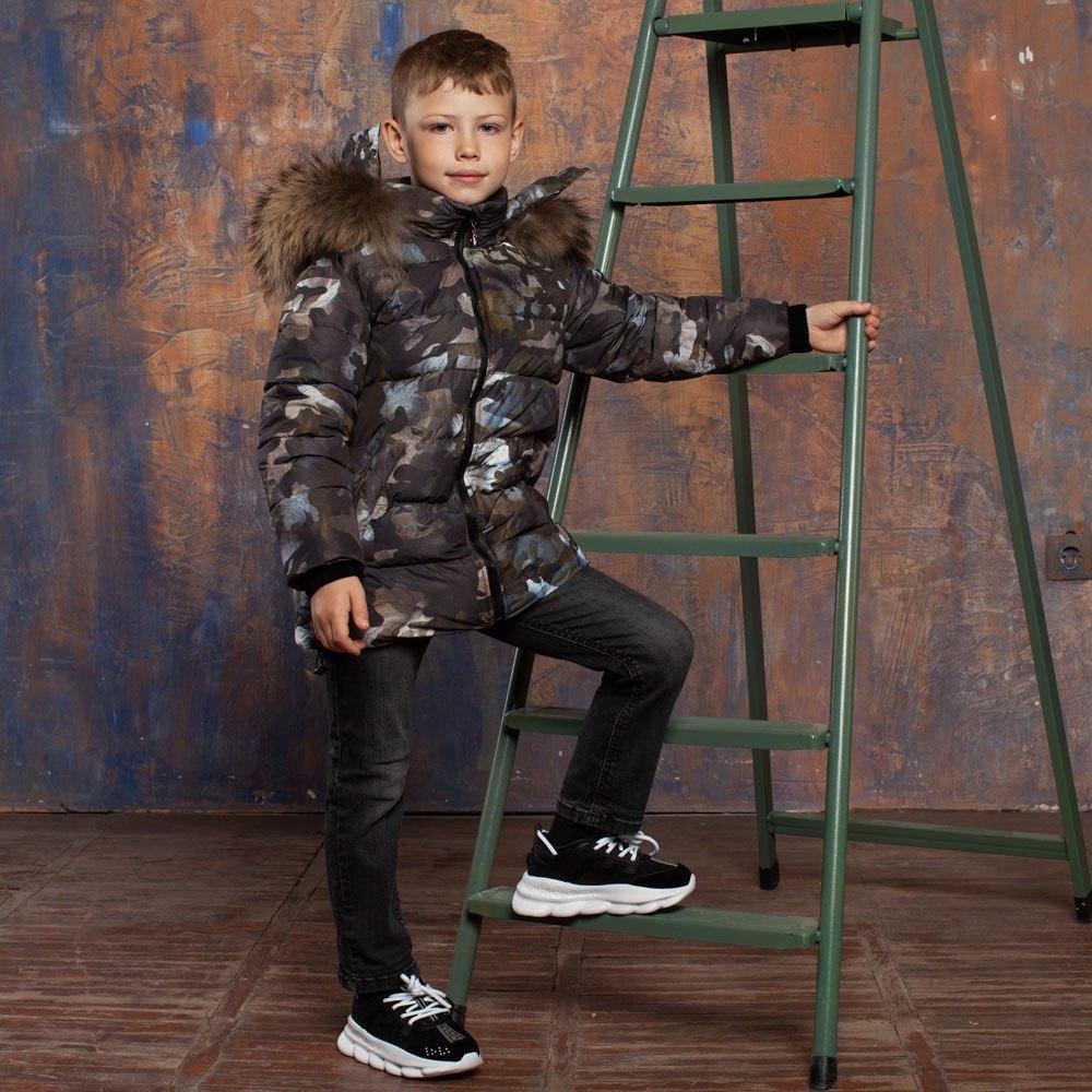 Камуфляжная детская зимняя куртка на мальчика