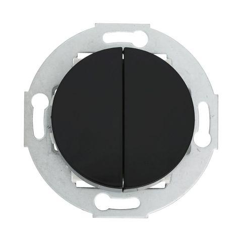 Выключатель двухклавишный (схема 5) 10 A, 250 В~. Цвет Чёрный. LK Studio Vintage (ЛК Студио Винтаж). 881108-1