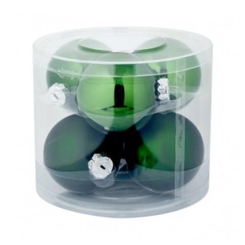 Набор шаров 6шт. в тубе (стекло), D8см, цветовая гамма: тёмно-зелёные
