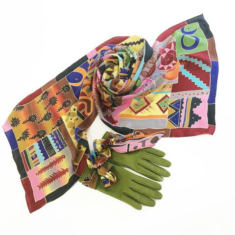 Кожаные перчатки Африка Грин