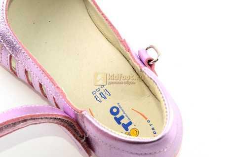 Туфли для девочек кожаные на липучке Тотто, цвет розовый металлик, 10210A. Изображение 12 из 12.