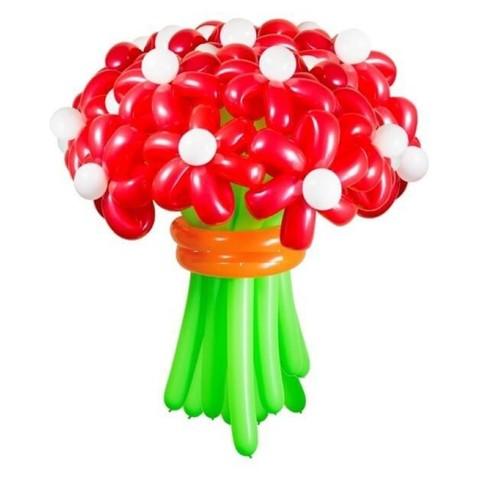 Ромашки из шаров красные