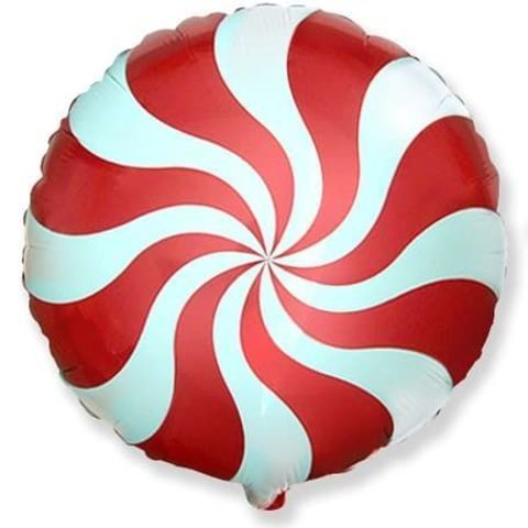 Фольгированный шар круг , леденец, красный, 46 см