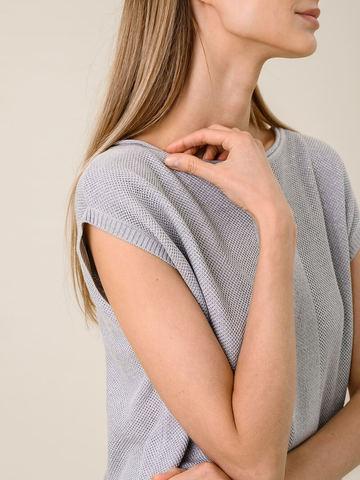 Женская футболка серебряного цвета из вискозы - фото 4
