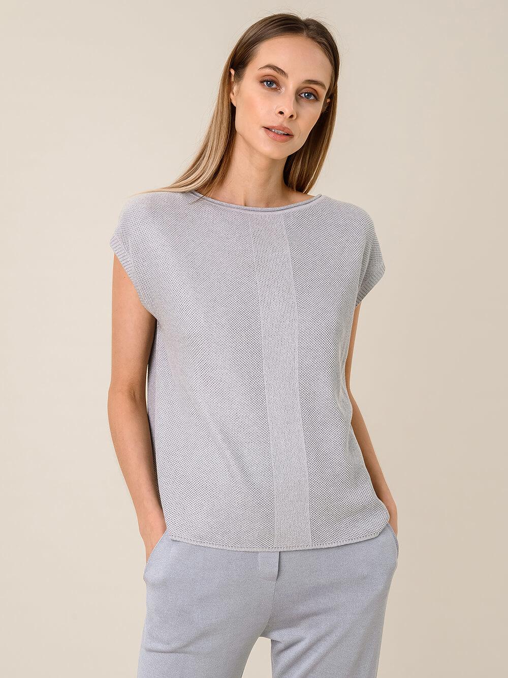 Женская футболка серебряного цвета из вискозы - фото 1