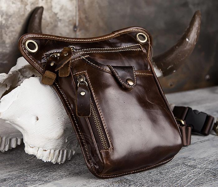 BAG436-2 Крутая набедренная сумка из натуральной кожи фото 02