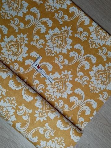 Ткань duck с тефлоновой пропиткой для уличных штор ДАМАСК ЖЕЛТЫЙ