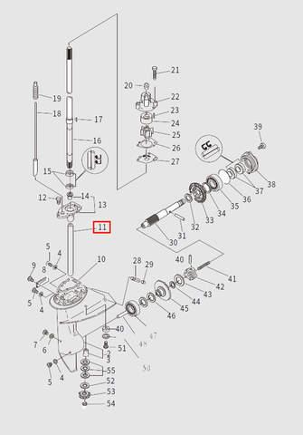 Втулка вертикального вала для лодочного мотора T9.8 Sea-PRO (13-11)