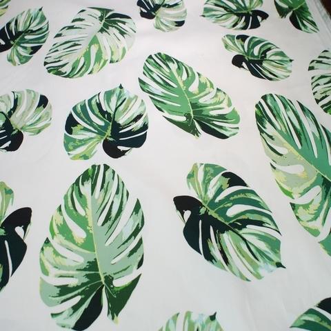 Ткань хлопок белый с зелеными листьями 2035