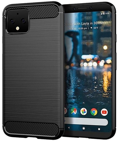 Чехол Google Pixel 4 цвет Black (черный), серия Carbon, Caseport