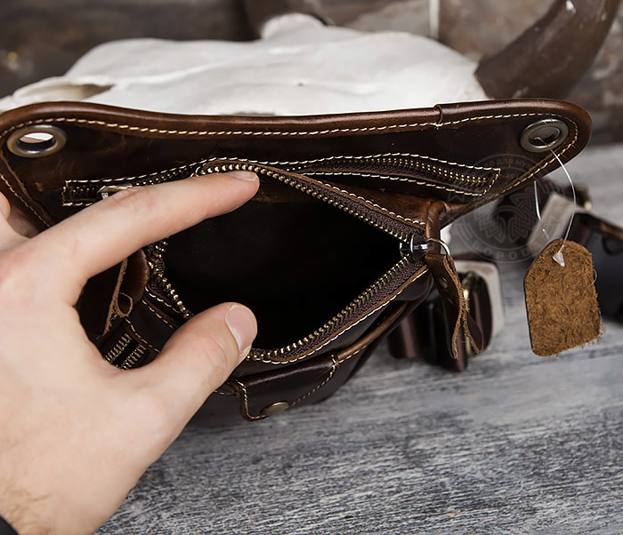 BAG436-2 Крутая набедренная сумка из натуральной кожи фото 06