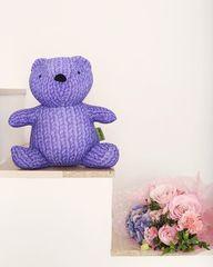 Подушка-игрушка антистресс «Вязаный Мишка», фиолетовый 5