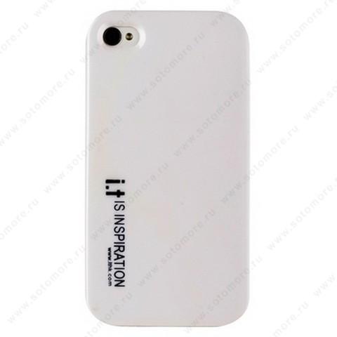 Накладка i.t с водонепроницаемым мешком для iPhone 4s/ 4 с маленькими синими буквами белая