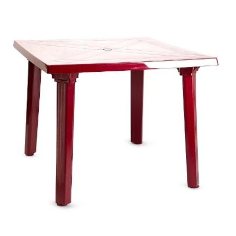 Пластиковый квадратный стол бордовый