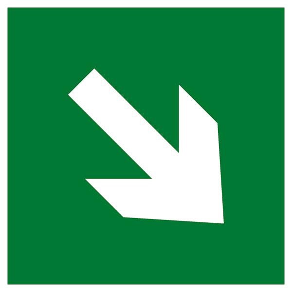 Эвакуационный знак Е 02-02 – Направляющая стрелка под углом 45 градусов