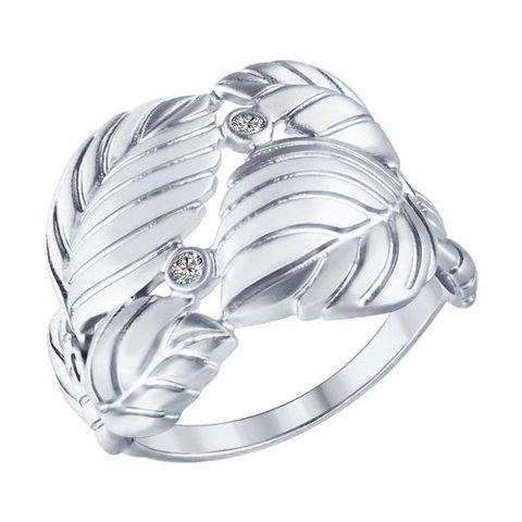 94012370- Кольцо из матированного серебра в форме переплетенных листьев