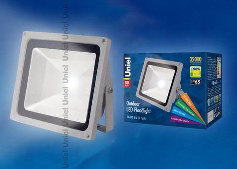 ULF-S01-50W/NW IP65 110-240В Прожектор светодиодный. Корпус серый. Цвет свечения белый. Степень защиты IP65. Картонная упаковка