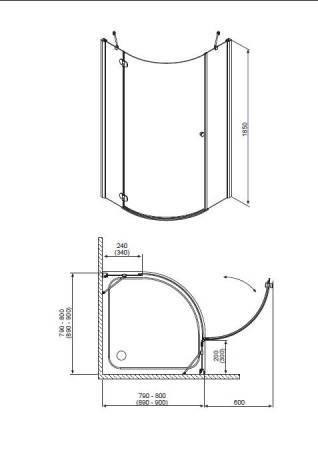 Душевой угол RADAWAY Torrenta PDJ 90 L/R 31700(31800)-01-05