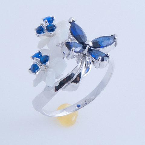 Кольцо с цветами из перламутра и сапфиром Арт. 1196бпс