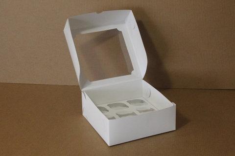 Коробка для 9 маффинов/капкейков 25*25*10см с окном, белая