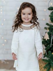 Лапушка. Платье вязаное с кружевом, белый вид 4
