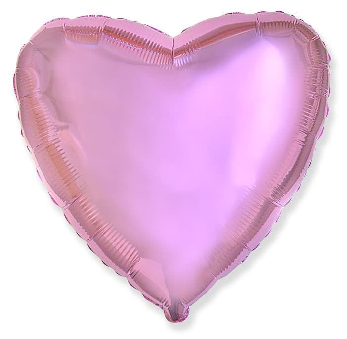 Фольгированный воздушный шар сердце, светло-розовый, 46 см