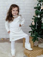 Лапушка. Платье вязаное с кружевом, белый вид 2