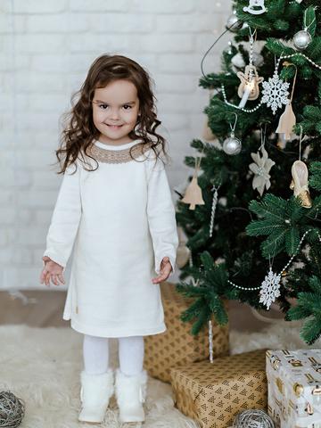 Лапушка. Платье вязаное с кружевом, белый вид 1