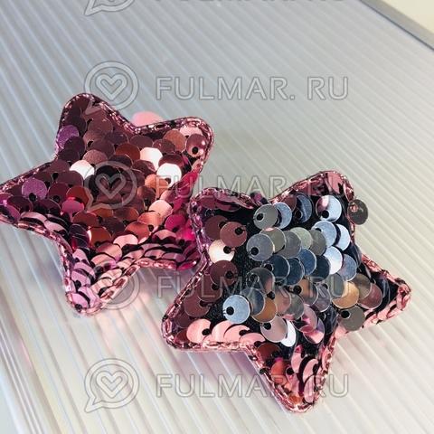 Набор резинки для волос с двусторонними пайетками меняют цвет Розовый-Серебристый (2 шт.)