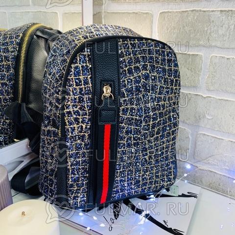 Рюкзак блестящий Синий-Золотистый с молнией LOLA  28х28х12 см