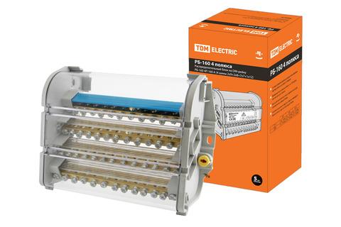 Распределительный блок на DIN-рейку РБ-160 4П 160А (4 шины 2x9+2x8+7x7+1x12) TDM