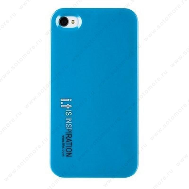 Накладка i.t с водонепроницаемым мешком для iPhone 4s/ 4 с маленькими буквами голубая