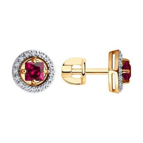 6028025 - Серьги из золота с бриллиантами и корундами