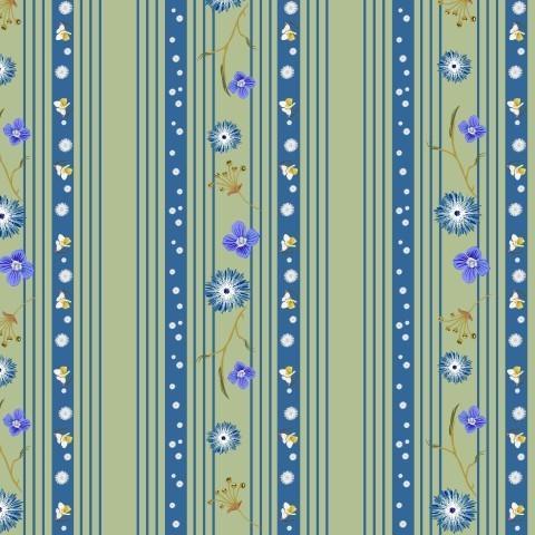 вертикальные линии и полосы в тонах морской волны с мелкими цветами