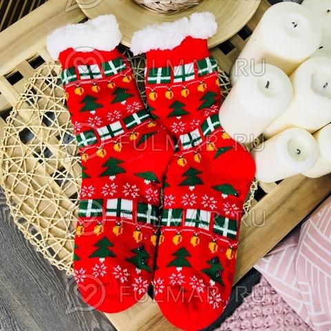 Новогодние носки домашние женские Ёлки (цвет: красный)