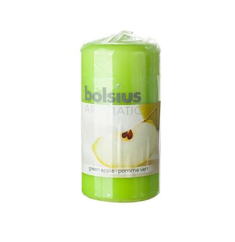 Свеча-Столбик с ароматом яблока, 12х6см, (33 часа), цвет:зеленый