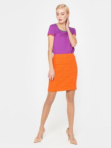 Фото стильная оранжевая юбка длины мини с разрезом - Юбка Б084-740 (1)