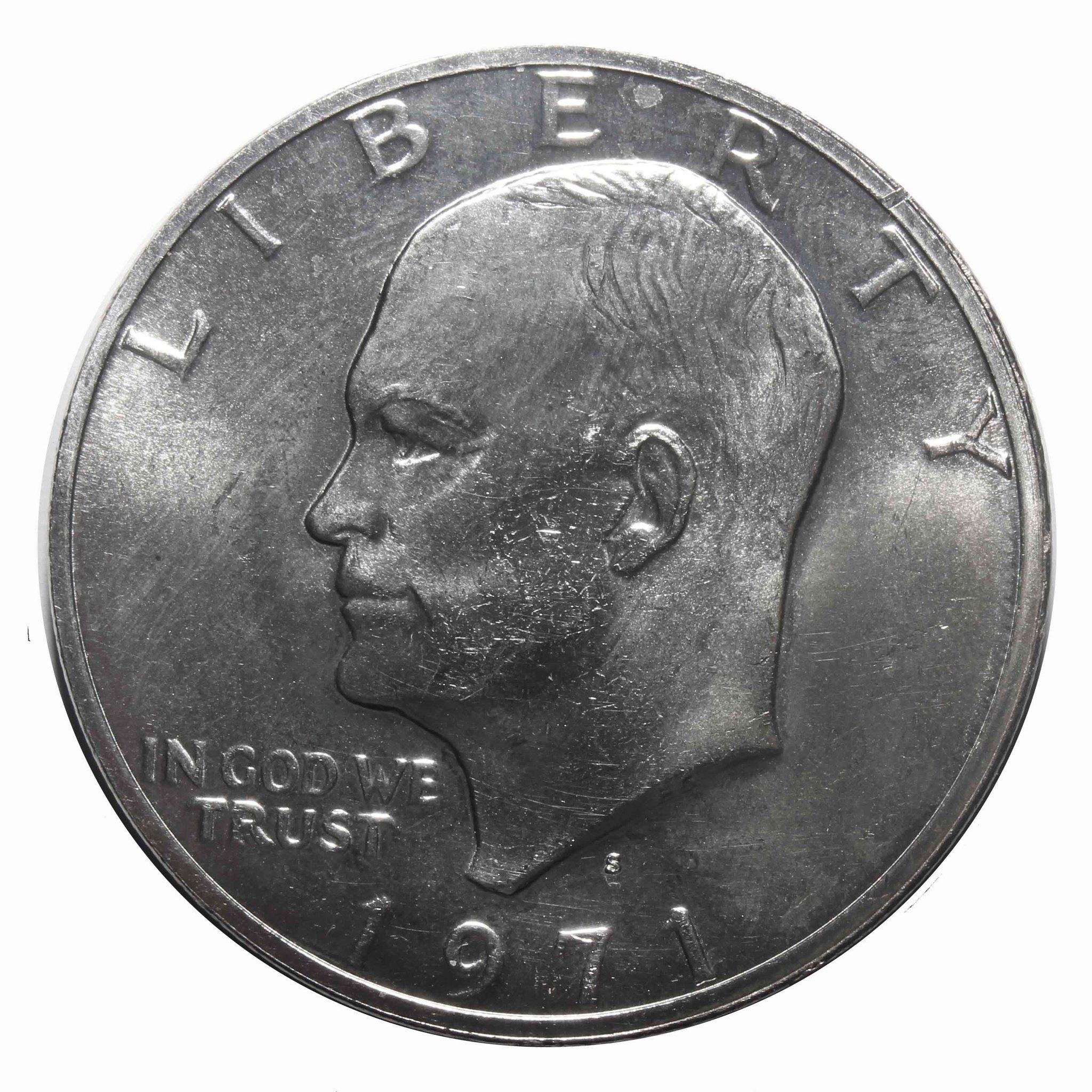 1 доллар 1971 (S) США. (Лунный) Серебро. AU