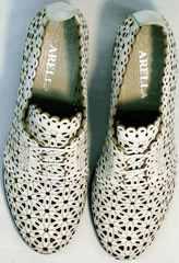 Стильные туфли перфорированная кожаженские Arella 426-33 White.