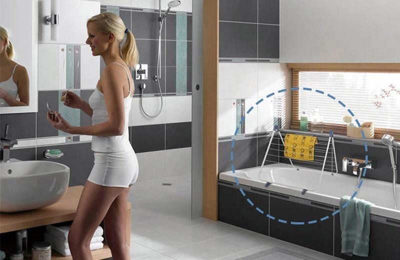 Картинка - Сушилка для белья на ванну противоскользящая, многофункциональная А-образной формы