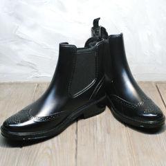Зимние резиновые ботинки женские W9072Black