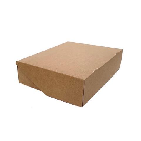 Коробка для сладостей без окна, 215*165*55 мм, двусторонняя белая\крафт