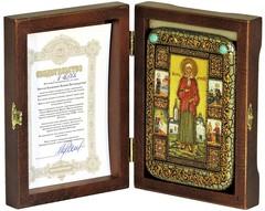 Инкрустированная Икона Святая Блаженная Ксения Петербургская 15х10см на натуральном дереве, в подарочной коробке