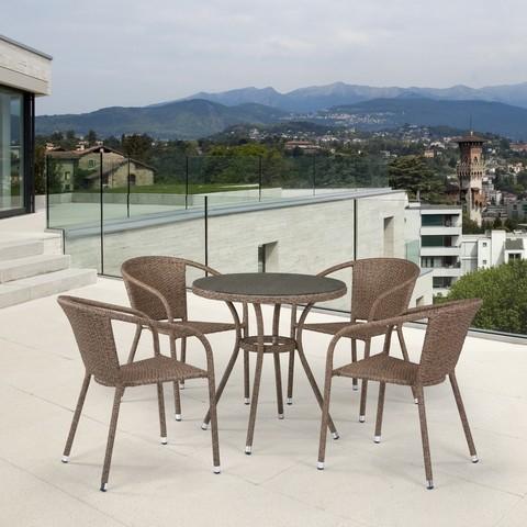 Комплект плетеной мебели T282ANT/Y137C-W56 Light Brown 4Pcs