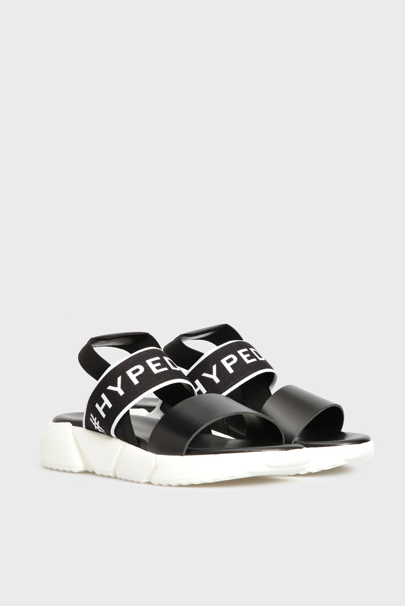 Женские черные кожаные сандалии Preppy
