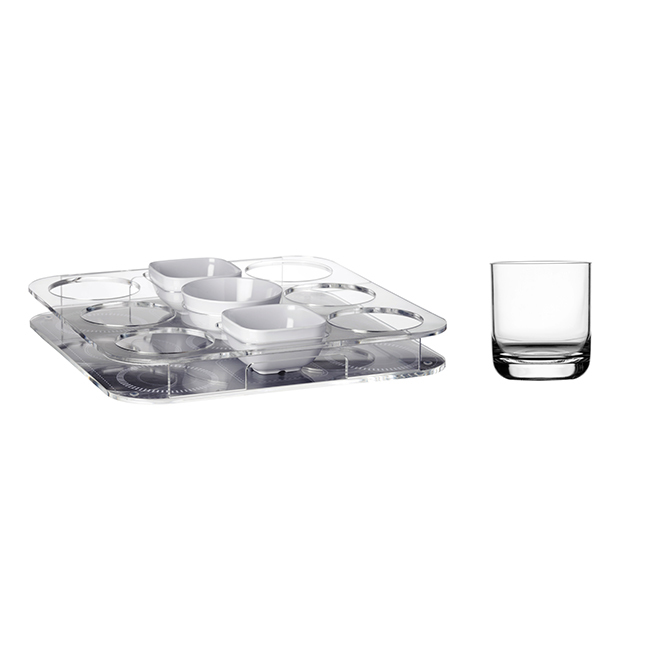 Tray for glasses + 3 snacks + 6 glasses, Party collection