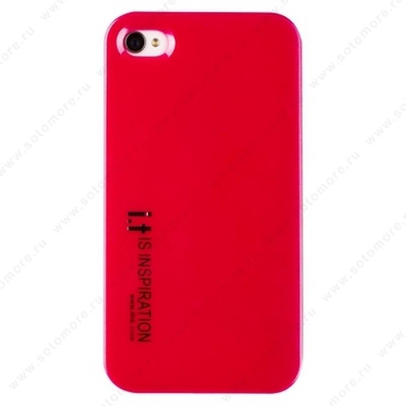 Накладка i.t с водонепроницаемым мешком для iPhone 4s/ 4 с маленькими буквами розовая