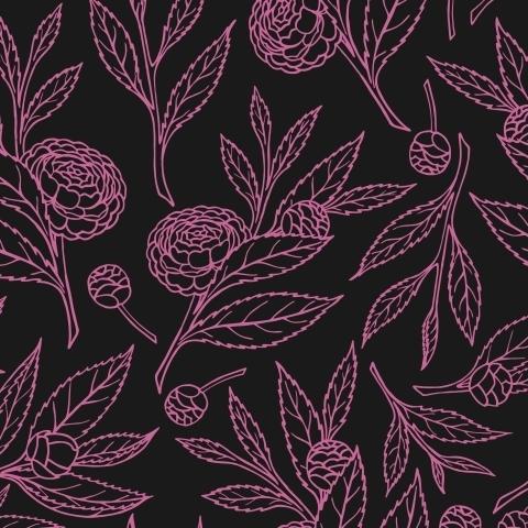 Черная ткань с цветущими веточками камелии