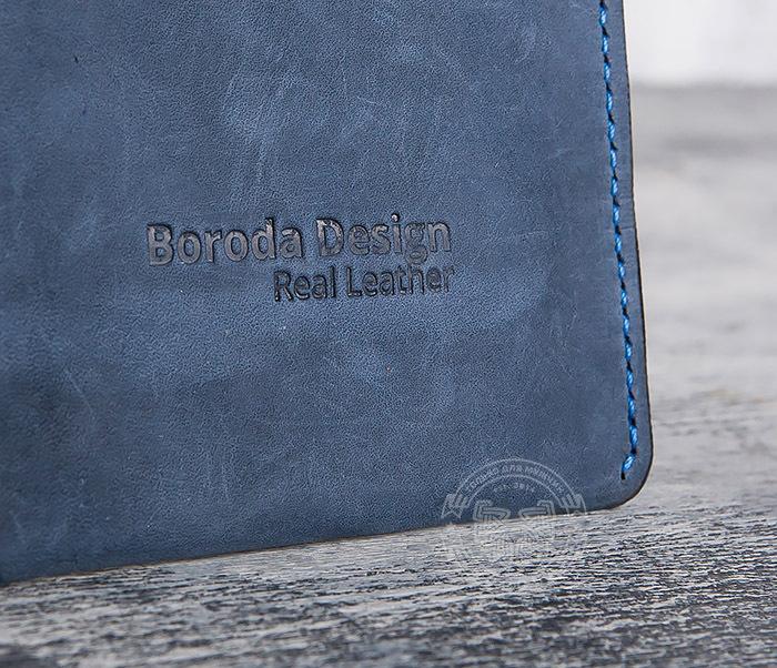 BC124-3 Кардхолдер ручной работы из натуральной синей кожи фото 02