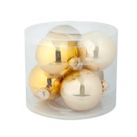Набор шаров 6шт. (стекло), D8см, золотой микс